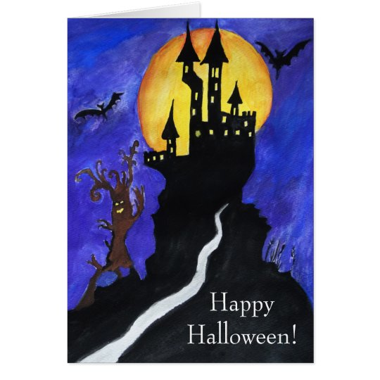 Halloween Castle Bats Tree Drawing Greeting Card