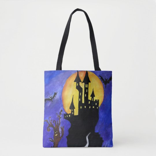 Halloween Castle Bats Tree Drawing Tote Bag