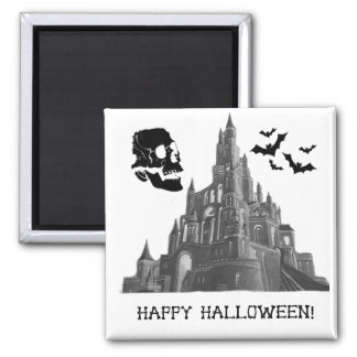 Halloween Castle with Skull and Bat Refrigerator Magnet