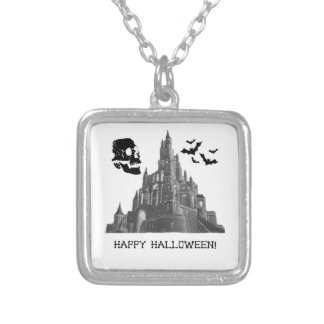 Halloween Castle with Skull and Bat Jewelry