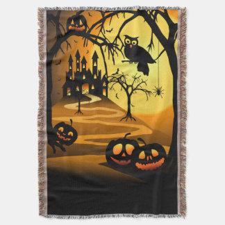 Halloween Castle Woven Throw Blanket