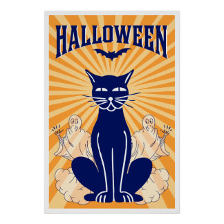 Halloween Cat and Ghosts Poster