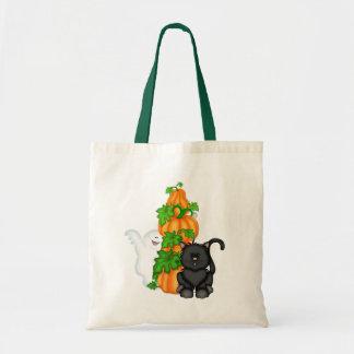 Halloween Cat and Pumpkins Tote Bag