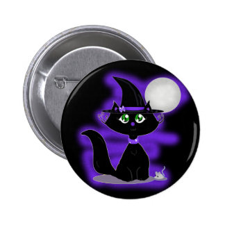 Halloween Cat and toy mouse 6 Cm Round Badge