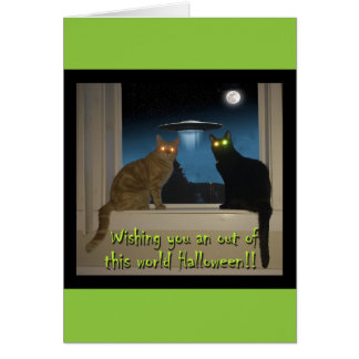 Halloween Cat Card with black & orange cats