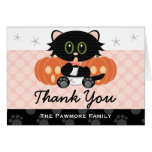 Halloween Cat Diapers Pink Baby Shower Thank You Note Card