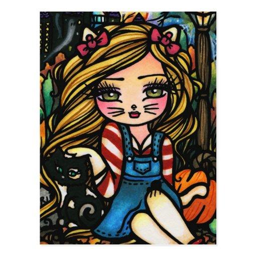 Halloween Cat Haunted House Girl Fantasy Art Postcard