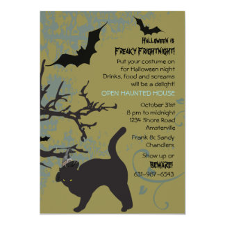 Halloween Cat in a Hat Invitation
