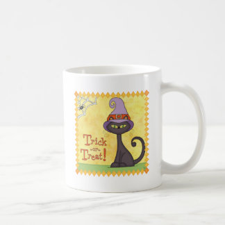 Halloween Cat in a Witches Hat Basic White Mug