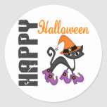 Halloween Cat In Witch's Boots Round Stickers