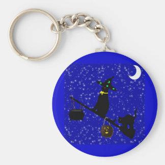 """Halloween Cat On A Broom""* Key Ring"
