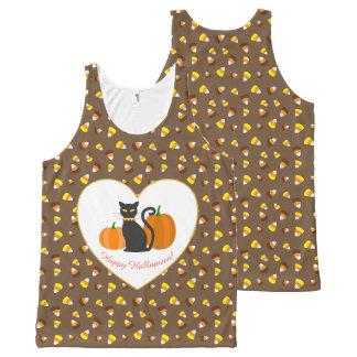 Halloween Cat, Pumpkins, Heart & Candy Corn All-Over Print Tank Top