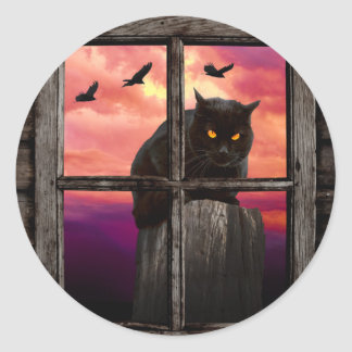 Halloween Cat Round Sticker