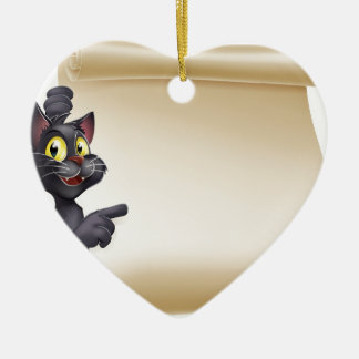 Halloween Cat Scroll Ceramic Heart Decoration