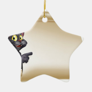 Halloween Cat Scroll Ceramic Star Decoration