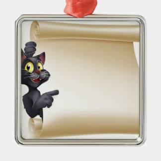Halloween Cat Scroll Silver-Colored Square Decoration