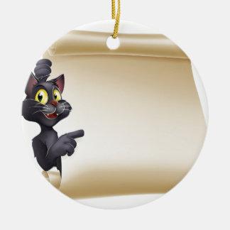 Halloween Cat Scroll Round Ceramic Decoration