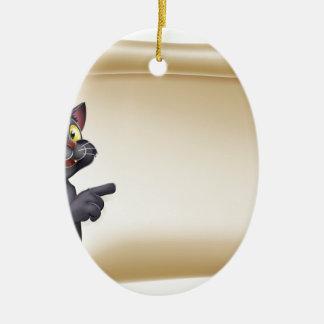 Halloween Cat Scroll Ceramic Oval Decoration