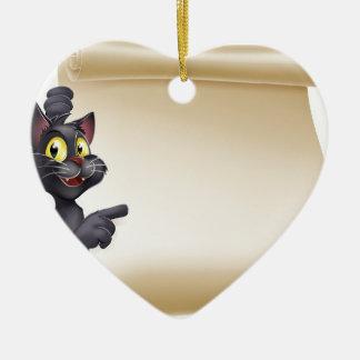 Halloween Cat Scroll Ceramic Heart Decoration