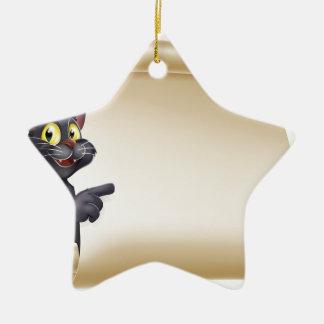 Halloween Cat Scroll Ceramic Star Decoration