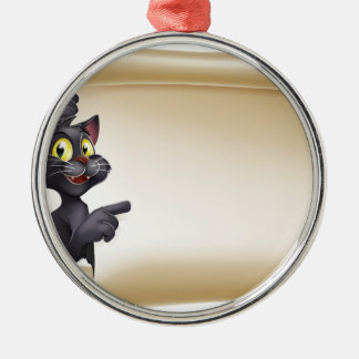 Halloween Cat Scroll Silver-Colored Round Decoration