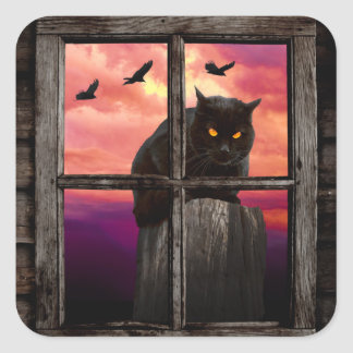 Halloween Cat Square Sticker