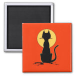 Halloween Cat with Moon ~ Square Magnet
