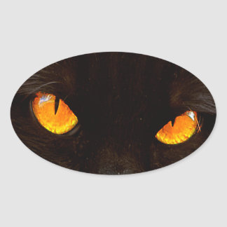 Halloween Cat's Face Oval Sticker