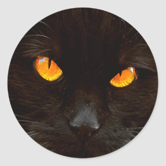 Halloween Cat's Face Round Sticker