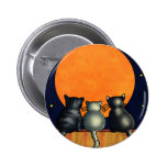 Halloween Cats Watch the Moon - Vintage Style 6 Cm Round Badge
