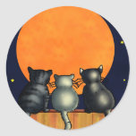 Halloween Cats Watch the Moon - Vintage Style Round Sticker