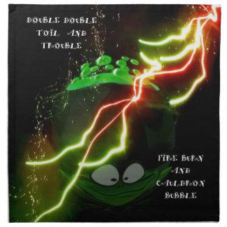 Halloween cauldron and a frog napkin