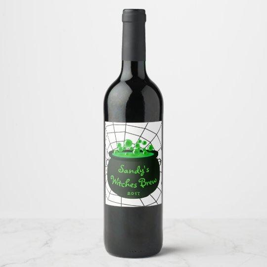 Halloween Cauldron Witches Brew Cobweb Wine Label