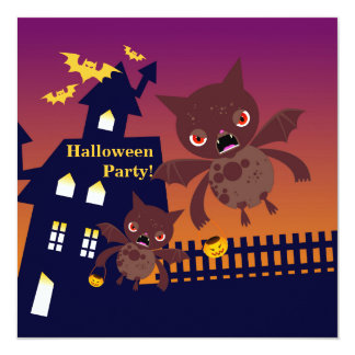 Halloween celebration with bats 13 cm x 13 cm square invitation card
