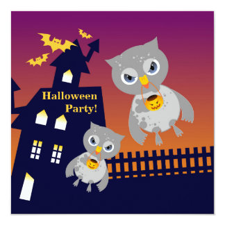 Halloween celebration with owls 13 cm x 13 cm square invitation card