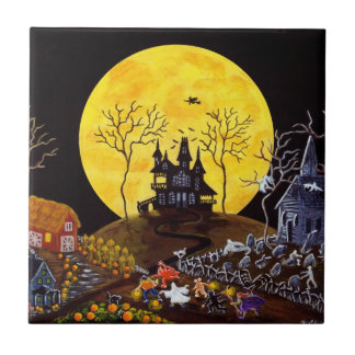Halloween ceramic tile,haunted,house,graveyard tile