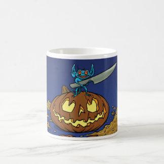 Halloween change colour mug with imp and pumpkin