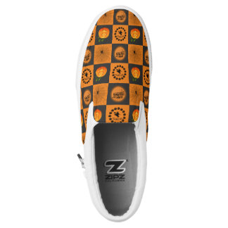 Halloween Chessboard Slip-On Shoes