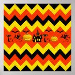 Halloween Chevron Haunted House Black Cat Pattern