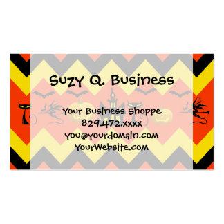 Halloween Chevron Haunted House Black Cat Pattern Business Cards