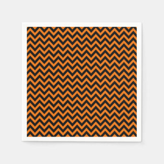 Halloween Chevron Pattern Black Orange Stripes Paper Napkin