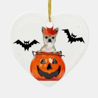 Halloween chihuahua dog ceramic heart decoration