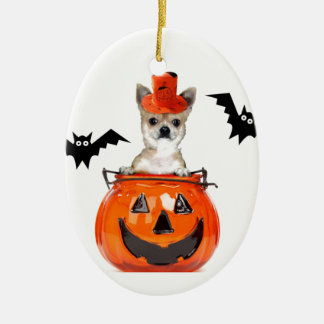 Halloween Chihuahua Dog Ceramic Oval Decoration