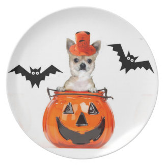 Halloween Chihuahua dog Dinner Plate