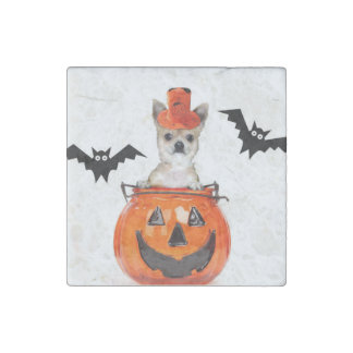 Halloween chihuahua dog stone magnet