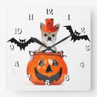 Halloween chihuahua dog wallclock