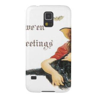 Halloween Child Witch with Black Cat Galaxy S5 Cases