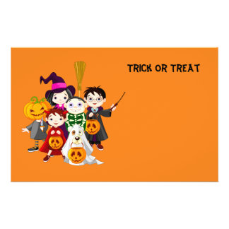 Halloween children trick or treating 14 cm x 21.5 cm flyer