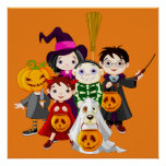 Halloween children trick or treating poster