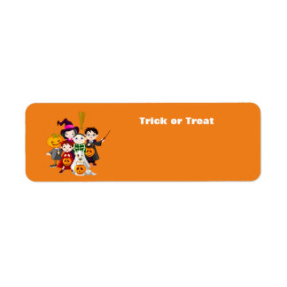 Halloween children trick or treating return address label